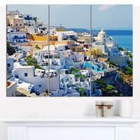 "Designart 'View of Fira Town Santorini' Abstract Wall Art Canvas - 36""x28"" 3 Panels"