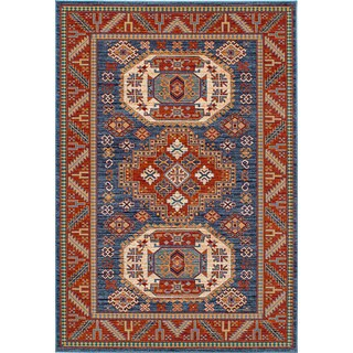 eCarpetgallery Terra Kazak Blue Wool Handmade Rug (5'6 x 8')