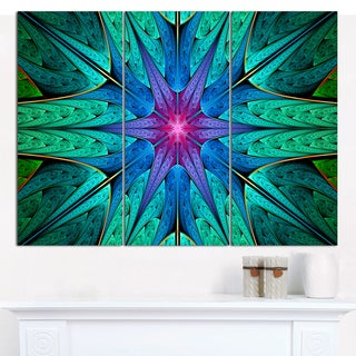 "Designart 'Turquoise Star Fractal Stained Glass' Multipanel Abstract Wall Art - 36""x28"" 3 Panels"