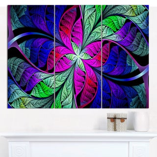 "Designart 'Multi-Color Stained Glass Texture' Multipanel Abstract Wall Art - 36""x28"" 3 Panels"