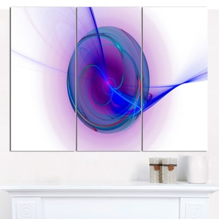 "Designart 'Abstract Blue Fractal Design' Large Abstract Canvas Art Print- 3 Panels 36""x28"""