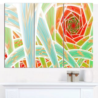 """Designart 'Red Fractal Endless Tunnel' Large Abstract Canvas Art Print- 3 Panels 36""""x28"""""""