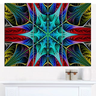 """Designart 'Glowing Fractal Flower Layers' Multipanel Abstract Wall Art - 36""""x28"""" 3 Panels"""
