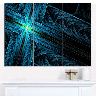 "Designart 'Turquoise Fractal Cross Design' Large Abstract Canvas Art Print- 3 Panels 36""x28"""
