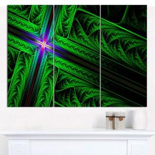 "Designart 'Green Fractal Cross Design' Large Abstract Canvas Art Print- 3 Panels 36""x28"""