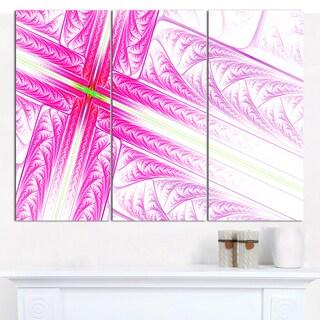 "Designart 'Pink Fractal Cross Design' Large Abstract Canvas Art Print- 3 Panels 36""x28"""