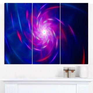 """Designart 'Blue Whirlpool Fractal Spirals' Abstract Canvas Art Print - 3 Panels 36""""x28"""""""