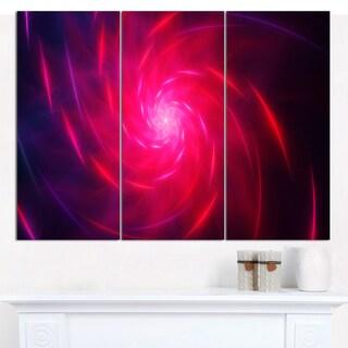 """Designart 'Pink Whirlpool Fractal Spirals' Abstract Canvas Art Print - 3 Panels 36""""x28"""""""