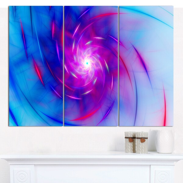 "Designart 'Turquoise Whirlpool Fractal Spirals' Abstract Canvas Art Print - 3 Panels 36""x28"""