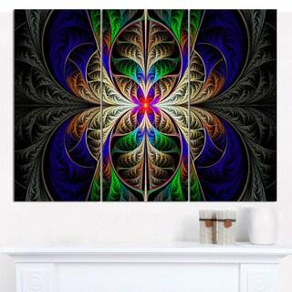 "Designart 'Fabulous Multi-Color Fractal Art' Multipanel Abstract Wall Art - 36""x28"" 3 Panels"
