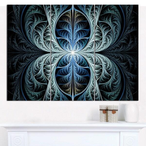 "Designart 'Glowing Blue Fabulous Fractal Art' Multipanel Abstract Wall Art - 36""x28"" 3 Panels"