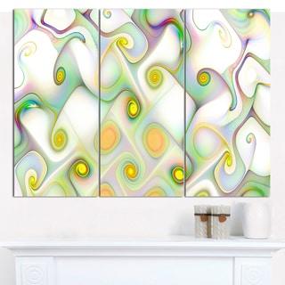 "Designart 'Beautiful Fractal Pattern with Swirls' Abstract Wall Art Canvas - 3 Panels 36""x28"""