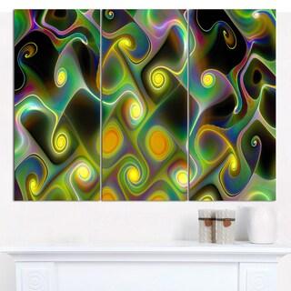 "Designart 'Yellow Fractal Pattern with Swirls' Abstract Wall Art Canvas - 3 Panels 36""x28"""