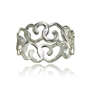 Mondevio Sterling Silver High Polished Open Heart Eternity Band Ring