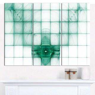"Designart 'Light Blue Bat on Radar Screen' Abstract Canvas Art Print - 3 Panels 36""x28"""