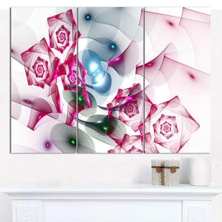 "Designart 'Pink Roses Fractal Design' Abstract Canvas Art Print - 3 Panels 36""x28"""