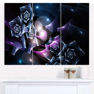 "Designart 'Glowing Bouquet of Beautiful Roses' Abstract Canvas Art Print - 3 Panels 36""x28"""