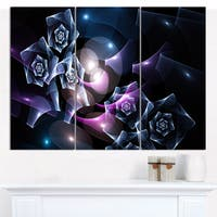 """Designart 'Glowing Bouquet of Beautiful Roses' Abstract Canvas Art Print - 3 Panels 36""""x28"""""""