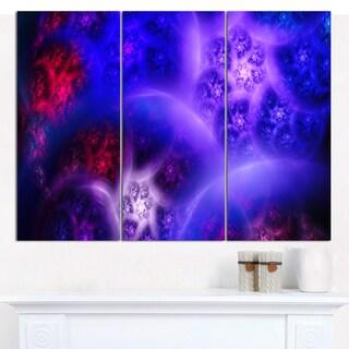 "Designart 'Bright Blue Magic Stormy Sky' Abstract Canvas Art Print - 3 Panels 36""x28"""
