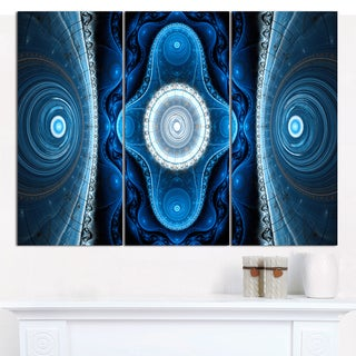 "Designart 'Cabalistic Blue Fractal Design' Abstract Canvas Art Print - 3 Panels 36""x28"""