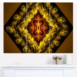 "Designart 'Cabalistic Yellow Fractal Design' Abstract Wall Art Canvas - 3 Panels 36""x28"""