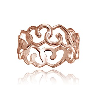 Mondevio 18k Rose Gold Over Sterling Silver High Polished Open Heart Eternity Band Ring