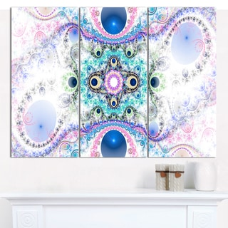 "Designart 'Cryptical Blue Fractal Pattern' Abstract Wall Art Canvas - 3 Panels 36""x28"""