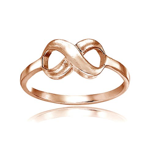 Mondevio 18k Rose Gold Over Sterling Silver High Polished Infinity Ring
