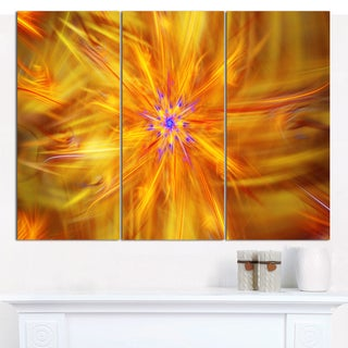"""Designart 'Glowing Brightest Star Exotic Flower' Abstract Canvas Art Print - 3 Panels 36""""x28"""""""