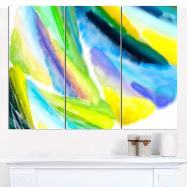 "Designart 'Green Vibrant Brushstrokes' Abstract Canvas Art Print - 3 Panels 36""x28"""