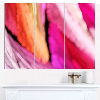 "Designart 'Red Vibrant Brushstrokes' Abstract Canvas Art Print - 3 Panels 36""x28"""