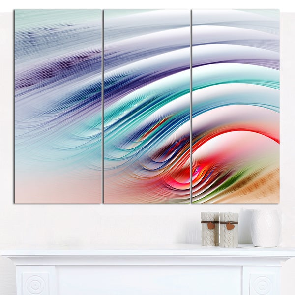 "Designart 'Water Ripples Rainbow Waves' Abstract Canvas Art Print - 3 Panels 36""x28"""