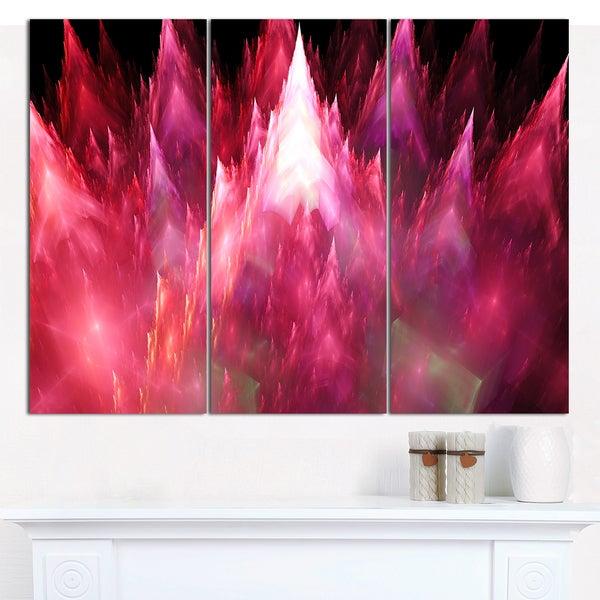 "Designart 'Red Fractal Crystals Design' Abstract Canvas Art Print - 3 Panels 36""x28"""