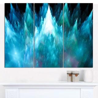 "Designart 'Blue Fractal Crystals Design' Abstract Canvas Art Print - 3 Panels 36""x28"""