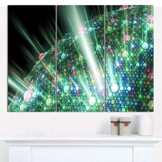"Designart 'Bright Blue Solar Bubbles Planet' Abstract Canvas Wall Art - 3 Panels 36""x28"""