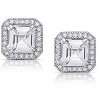 Dolce Giavonna Sterling Silver Cubic Zirconia Square Halo Design Earrings