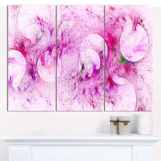 "Designart 'Pink White Fractal Glass Texture' Large Abstract Canvas Art Print- 3 Panels 36""x28"""