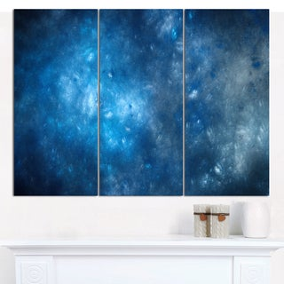 "Designart 'Clear Blue Starry Fractal Sky' Large Abstract Canvas Art Print- 3 Panels 36""x28"""