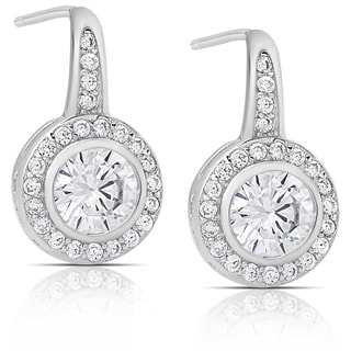 Dolce Giavonna Sterling Silver Cubic Zirconia Round Drop Earrings
