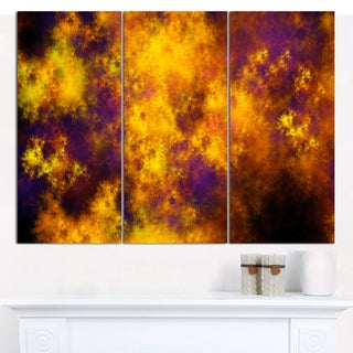 "Designart 'Cloudy Orange Starry Fractal Sky' Large Abstract Canvas Art Print- 3 Panels 36""x28"""
