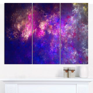 "Designart 'Clear Purple Starry Fractal Sky' Large Abstract Canvas Art Print- 3 Panels 36""x28"""