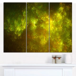 "Designart 'Clear Golden Starry Fractal Sky' Large Abstract Canvas Art Print- 3 Panels 36""x28"""