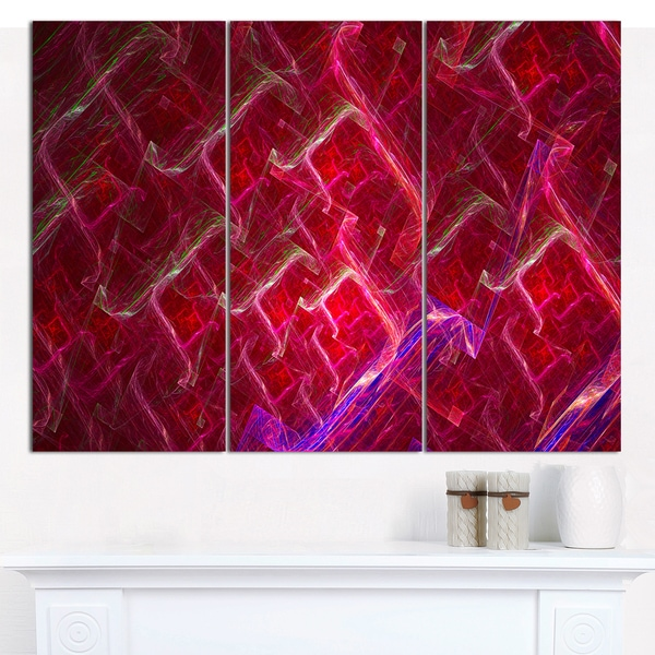 "Designart 'Red Fractal Electric Lightning' Abstract Canvas Art Print - 3 Panels 36""x28"""