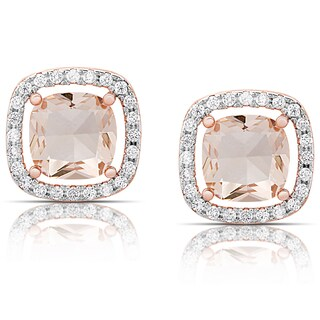 Dolce Giavonna Rose Gold Overlay Simulated Morganite Square Halo Stud Earrings
