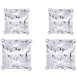 Dolce Giavonna Sterling Silver Cubic Zirconia 2-Pair Stud Earrings Set
