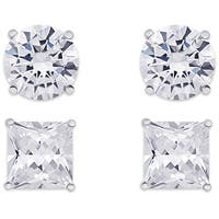 Dolce Giavonna Sterling Silver Cubic Zirconia Square and Round Earrings Set
