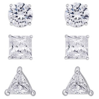 Dolce Giavonna Sterling Silver Cubic Zirconia 3-Pair Assorted Shape Stud Earrings Set