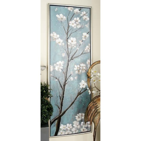 Set of 2 Contemporary 59 Inch Dogwood Bloom Canvas Art by Studio 350 - Grey/Blue/White