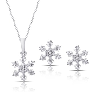 Dolce Giavonna Sterling Silver Cubic Zirconia Snowflake Necklace and Stud Earrings Set