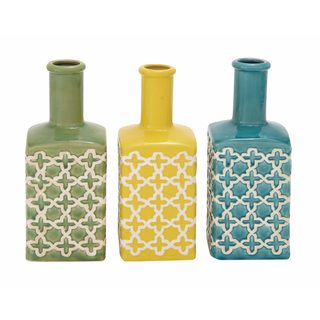Multicolored Ceramic Moroccan Patterned Vases (Set of 3)